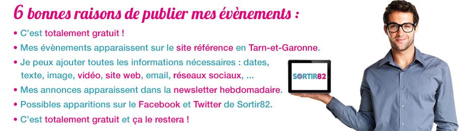 Annoncez gratuitement vos évènements en Tarn-et-Garonne