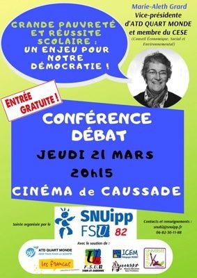 CONFÉRENCE-DÉBAT : GRANDE PAUVRÉTÉ ET RÉUSSITE SCOLAIRE #Caussade @ Cinéma de Caussade