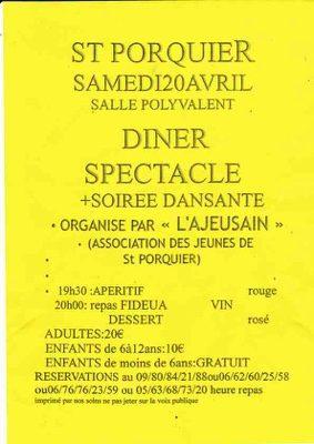 DÎNER SPECTACLE #Saint-Porquier @ salle des fêtes