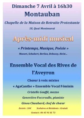 ENSEMBLE VOCAL DES RIVES DE L'AVEYRON #Montauban @ Chapelle de la Maison de retraite protestante