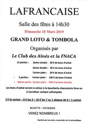 GRAND LOTO #Lafrançaise @ Salle des fêtes