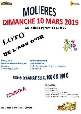 LOTO DU 10 MARS 2019 #Molières @ salle de la Pyramide
