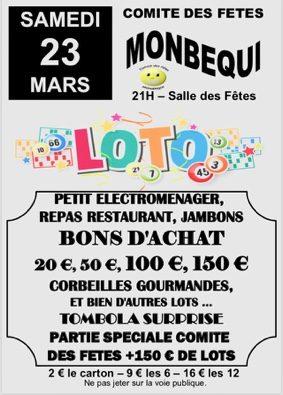 LOTO DU COMITÉ DES FÊTES #Monbéqui @ Salle des fêtes de Wallonie