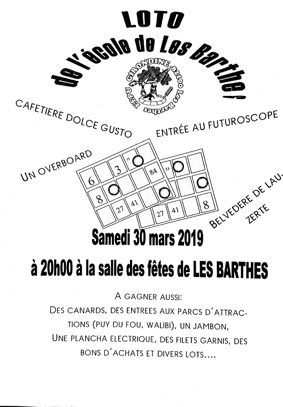 LOTO DE L'ECOLE #Les Barthes @ salle des fêtes