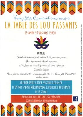 SOIRÉE CARNAVAL À LA TABLE DES LOU PASSANTS #Lafrançaise @ Restaurant La Tabe des Lou Passants
