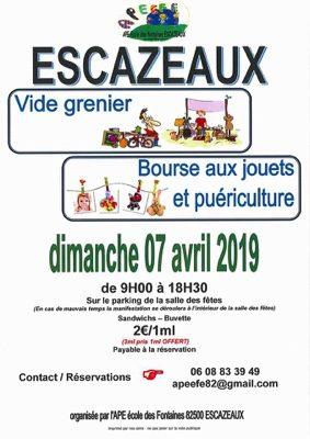 VIDE GRENIER - BOURSE AUX JOUETS - PUÉRICULTURE #Escazeaux @ Parking Salle des Fêtes