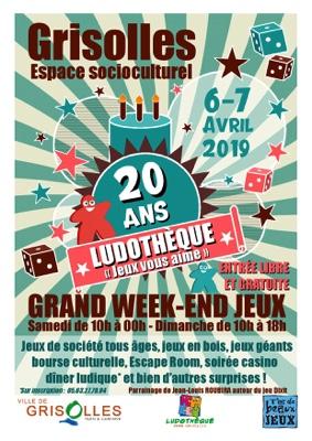 WEEK-END JEUX - 20 ANS LUDOTHÈQUE DE GRISOLLES #Grisolles @ Espace socioculturel