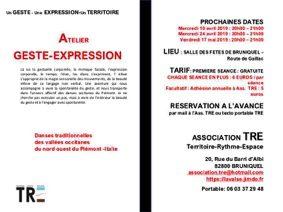 """ATELIER """"GESTE & EXPRESSION"""" DANS LES DANSES TRADITIONNELLES DES VALLÉES OCCITANES DE LA RÉGION PIÉMONT - ITALIE #Bruniquel @ salle des fêtes"""