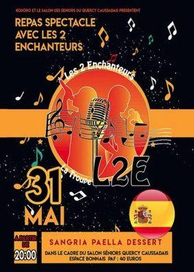 DÎNER SPECTACLE AVEC LES 2 ENCHANTEURS #Caussade @ Espace Bonnaïs