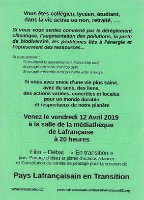 """FILM-DÉBAT """"EN TRANSITION"""" ÉCOLOGIQUE #Lafrançaise @ Médiathèque de Lafrançaise"""