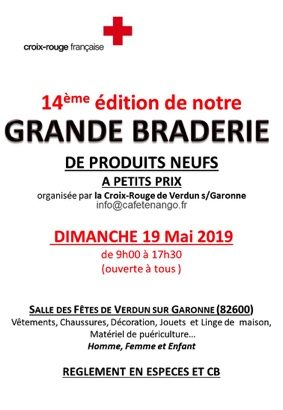 GRANDE BRADERIE DE PRODUITS NEUFS #Verdun-sur-Garonne @ salle des fêtes