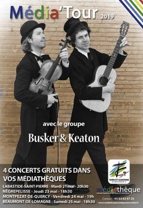 CONCERT MÉDIA'TOUR - BUSKER & KEATON #Nègrepelisse @ Médiathèque de Nègrepelisse