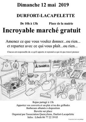 INCROYABLE MARCHÉ GRATUIT #Durfort-Lacapelette @ Place de la mairie