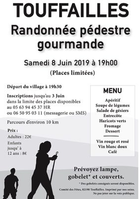 RANDONNÉE PÉDESTRE GOURMANDE NOCTURNE #Touffailles @ Salle des fêtes