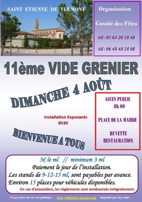 11ème VIDE GRENIER DU COMITÉ DES FÊTES #Saint-Étienne-de-Tulmont @ Place de la Mairie