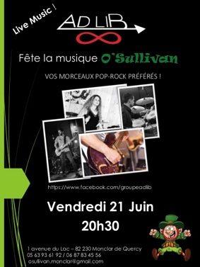 FÊTE DE LA MUSIQUE #Monclar-de-Quercy @ O'Sullivan Bar Resto Pizzéria