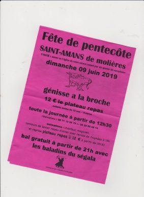 FÊTE DE LA PENTECÔTE #Molières @ Salle des Fêtes de Saint Amans