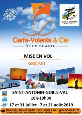 MISE EN VOL DE CERFS-VOLANTS #Saint-Antonin-Noble-Val @ Stade ou Roc démié