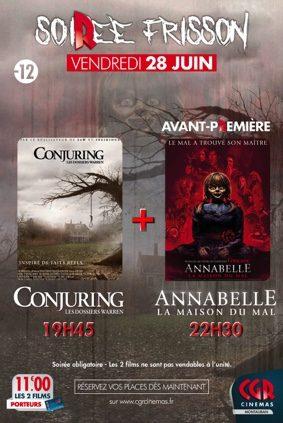 SOIRÉE FRISSON : CONJURING + ANNABELLE 3 #Montauban @ CGR MONTAUBAN