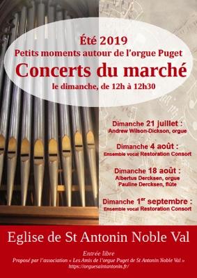 AUTOUR DE L'ORGUE - CONCERTS DU MARCHÉ #Saint-Antonin-Noble-Val @ Eglise