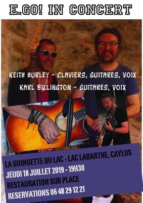CONCERT ROCK / POP AVEC E.GO! #Caylus @ Guinguette du Lac, Lac Labarth