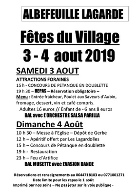 FÊTE DE LAGARDE #Albefeuille-Lagarde @ Place du Village