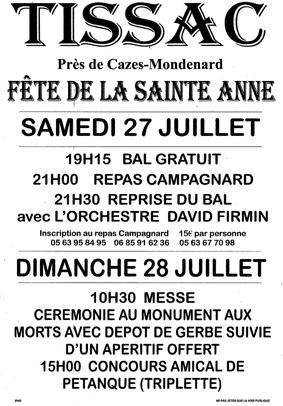 FÊTE DE LA SAINTE ANNE #Cazes-Mondenard @ Tissac (près de Cazes-Mondenard)