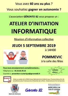ASSOCIATION GÉRONTO 82 - INITIATION À L'INFORMATIQUE POUR SENIORS #Pommevic @ Salle des fêtes