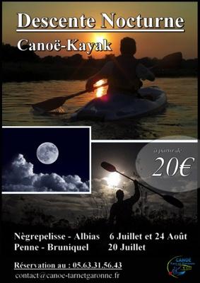 DESCENTE NOCTURNE CANOË-KAYAK #Nègrepelisse @ Base Canoë Kayak
