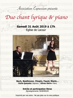 DUO CHANT LYRIQUE ET PIANO #Lacour @ Église de Lacour