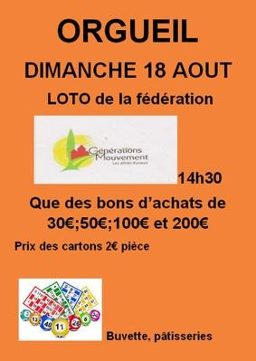 LOTO DE LA FÉDÉRATION GÉNÉRATIONS MOUVEMENT #Orgueil
