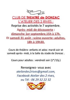 SCÈNE OUVERTE ET APRÈS-MIDI DE DÉCOUVERTE DE L'ACTIVITÉ THÉÂTRE #Donzac @ Stade de foot