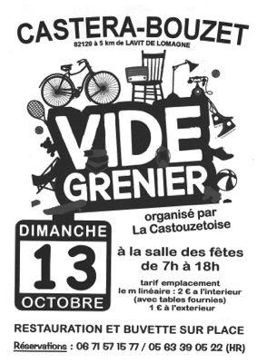 5ème VIDE GRENIER D'AUTOMNE #Castéra-Bouzet @ salle des fêtes