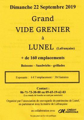 VIDE GRENIER DE L'ASSOCIATION DU PATRIMOINE DE LUNEL #Lafrançaise @ village de Lunel