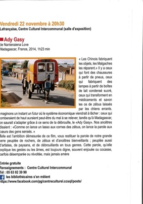 ADY GASY #Lafrançaise @ Centre culturel intercommunal