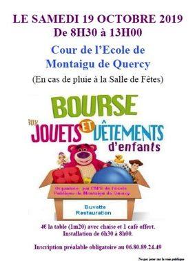 BOURSE AUX JOUETS ET VÊTEMENTS D'ENFANTS #Montaigu-de-Quercy @ Cour de l'école