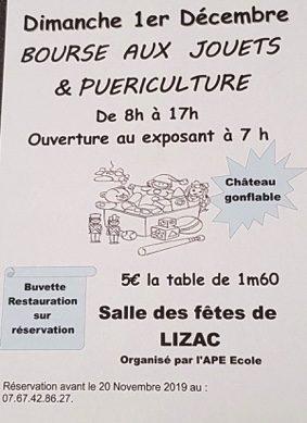 BOURSE AUX JOUETS & PUÉRICULTURE #Lizac @ Salle des fêtes