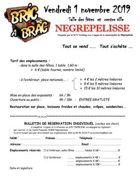 BRIC A BRAC - VIDE GRENIER #Nègrepelisse @ Salle des fetes et place nationale