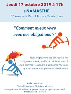 COMMENT MIEUX VIVRE AVEC NOS OBLIGATIONS #Montauban @ NAMASTHE