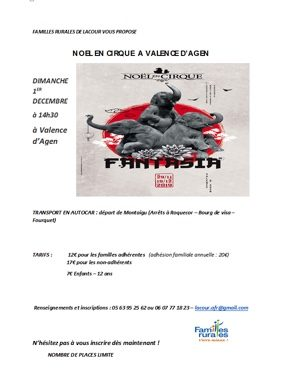DÉPART EN BUS POUR NOËL EN CIRQUE #Montaigu-de-Quercy @ Place Mercadiel