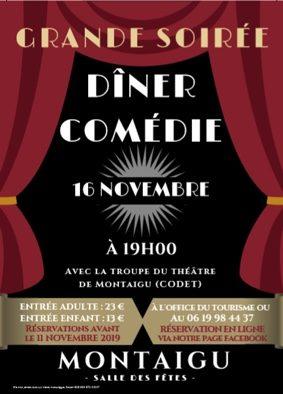 GRANDE SOIRÉE DINER-COMÉDIE #Montaigu-de-Quercy @ Salle des fêtes