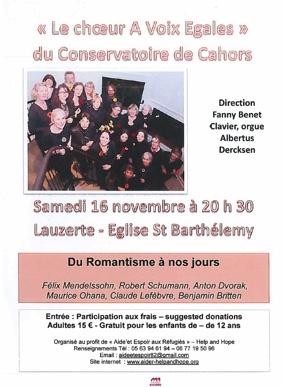 """""""LE CHOEUR À VOIX EGALES"""" DU CONSERVATOIRE DE CAHORS #Lauzerte @ Eglise St Barthélémy"""