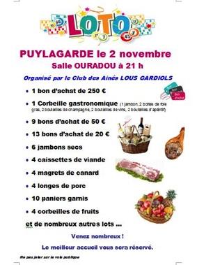 LOTO DES AINÉS #Puylagarde @ Salle des fêtes