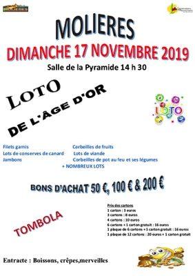 LOTO  DU CLUB DE L'AGE D'OR #Molières @ Salle de la Pyramide