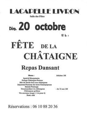 REPAS DANSANT FÊTE DE LA CHÂTAIGNE #Lacapelle-Livron @ Salle des Fêtes