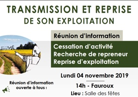 TRANSMISSION ET REPRISE DE SON EXPLOITATION #Fauroux @ Salle des fêtes