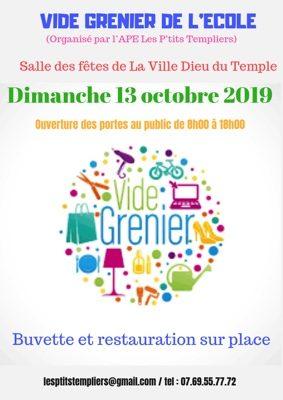 VIDE GRENIER DE L'APE DE L'ÉCOLE JULES FERRY #La Ville-Dieu-du-Temple @ Salle des Fêtes