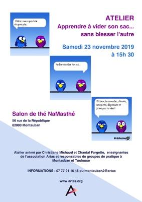APPRENDRE À VIDER SON SAC...SANS BLESSER L'AUTRE #Montauban @ Salon de Thé NAMASTHE