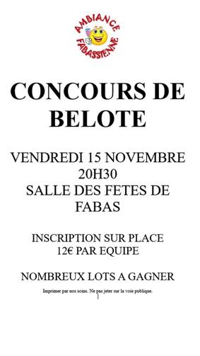 CONCOURS DE BELOTE #Fabas @ salle des fêtes