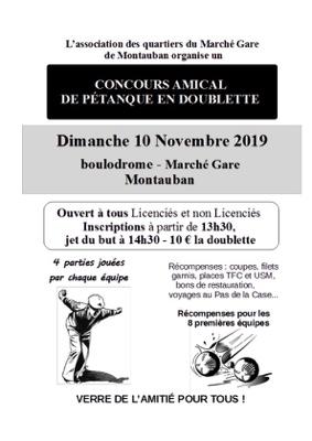 GRAND CONCOURS AMICAL DE PETANQUE #Montauban @ Boulodrome du Marché gare